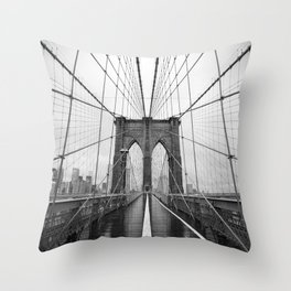 Black and White of Brooklyn Bridge Throw Pillow