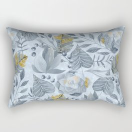 Blue Grey Succulent And Leaf Pattern With Gold Rectangular Pillow