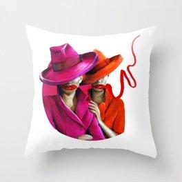 Pink, Reds & Gangster Hats Throw Pillow