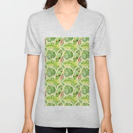 Hand painted green red watercolor tropical cheese leaves Unisex V-Neck
