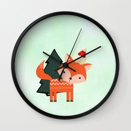 Orange Fox in Santa Hat in front of a Pine Tree Wall Clock