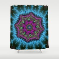 shield Shower Curtains featuring Fractal Shield by Harvey Warwick