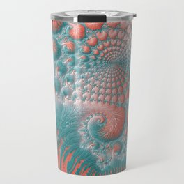 Abstract Coral Reef Living Coral Pastel Teal Blue Texture Spiral Swirl Pattern Fractal Fine Art Travel Mug