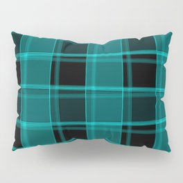 Strict strokes of light and light blue cells with bright stripes. Pillow Sham
