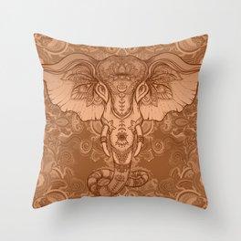 Sepia Ganesha Throw Pillow