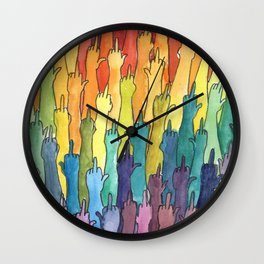 fuck-off in rainbow power Wall Clock
