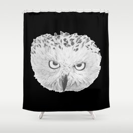 Snowy Owl Black Shower Curtain