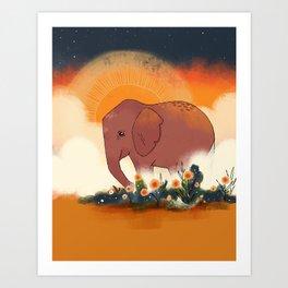 Elephant Sunrise Art Print