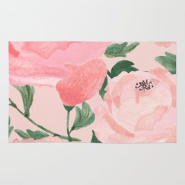 Watercolor Peonies with Blush Background Rug