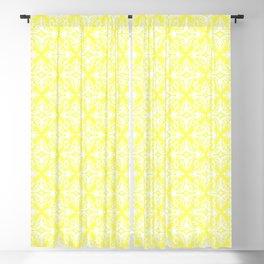 Damask (White & Light Yellow Pattern) Blackout Curtain