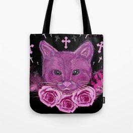 Cat Rose Garden Tote Bag