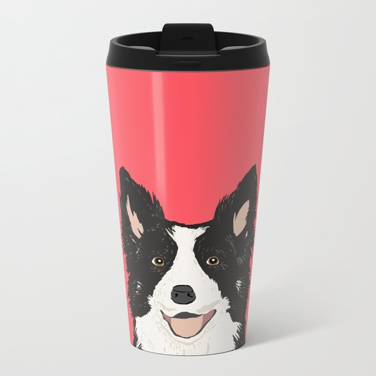 Montana - Border Collie gifts for dog people and dog lovers perfect gifts for a dog person.  Metal Travel Mug