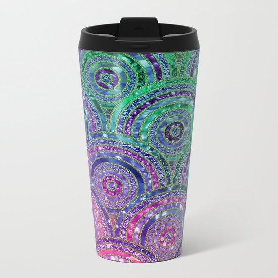 Pink Purple Blue and Green Sparkling Glitter Circles and Dots Metal Travel Mug