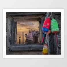 Fishing Boat and Gulls with Fishing Buoys at Sunrise Art Print