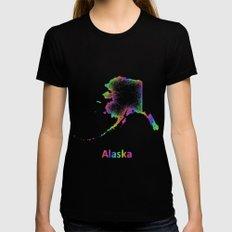 Rainbow Alaska map Womens Fitted Tee Black MEDIUM