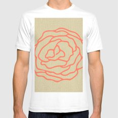Rose in Deep Coral on Linen White MEDIUM Mens Fitted Tee