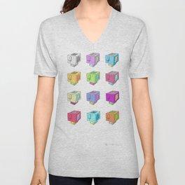 Cubeheds ( available for t-shirts ) Unisex V-Neck