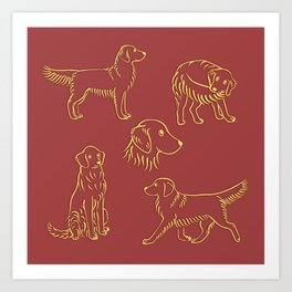 Golden Retriever Pattern (Terracotta Red Background) Art Print