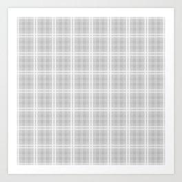 Christmas Silver Tartan Plaid Check Art Print