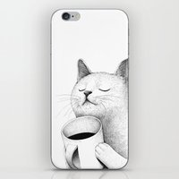 coffe iPhone & iPod Skins featuring Coffe & Cat by Sungwon