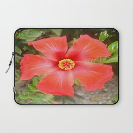 Head On Shot of a Red Tropical Hibiscus Flower Laptop Sleeve