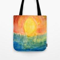 hindu Tote Bags featuring Hindu Creation by Brusling