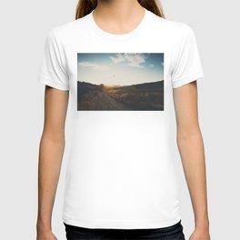 A bird in flight & a vineyard at sunset T-shirt