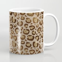 Brown Glitter Leopard Print Pattern Coffee Mug