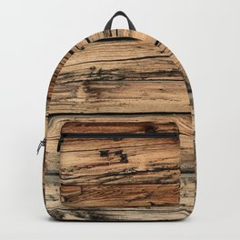 Old weathered pine wood Backpack