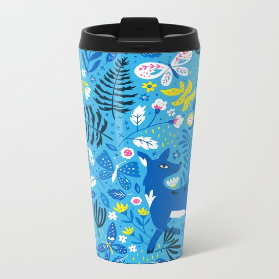 Deer and Butterflies (Sky Blue) Metal Travel Mug