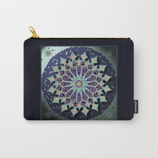Mosaic Mandala in Blue Carry-All Pouch