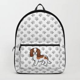 Cute Blenheim Cavalier King Charles Spaniel Dog Cartoon Illustration Backpack