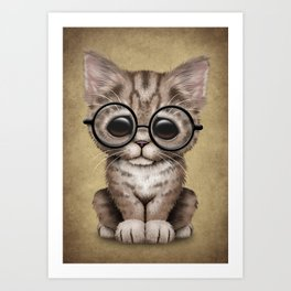 Cute Brown Tabby Kitten Wearing Eye Glasses Art Print