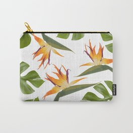 Strelitzia and Monstera white Carry-All Pouch