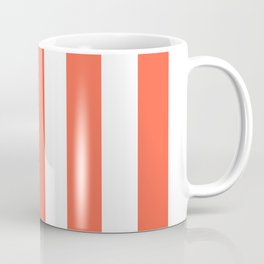 Tomato red - solid color - white vertical lines pattern Coffee Mug