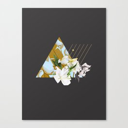 Tropical Flowers & Geometry Canvas Print