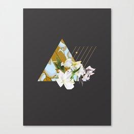 Tropical Flowers & Geometry Canvas Print