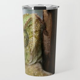 Green Chameleon Holding On To A Shed Door Travel Mug