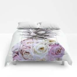 Pineapple, Vintage, Retro, Floral Blush Pink Roses Comforters