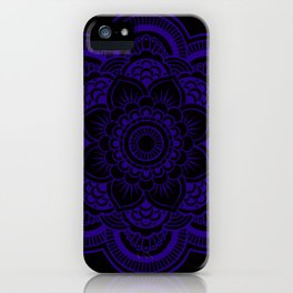 Mandala Deep Indigo Blue Black iPhone Case