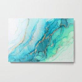 Turquoise Aqua Gold Tide Metal Print