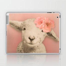 Flower Sheep Girl Portrait, Dusty Flamingo Pink Background Laptop & iPad Skin
