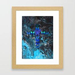 Turquoise Fire Cross Framed Art Print