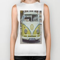 lime green Biker Tanks featuring Lime Green Camper Van Front by Cornish Creations