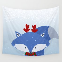 Cute Fox Wintery Holiday Design Wall Tapestry