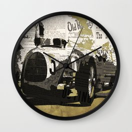 Race car number five, newspaper art collage, Gift For Dad, Gift For Him Wall Clock