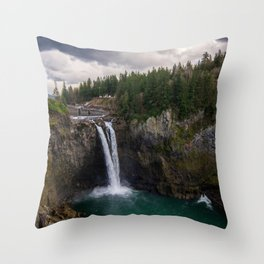 Wallpaper Washington USA Snoqualmie Falls Cliff Nature Waterfalls Moss Rock Crag Throw Pillow
