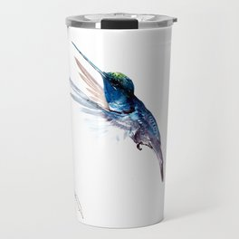 Hummingbird, Navy Blue Turquoise Artwork, minimalist bird art blue Travel Mug