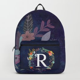 Personalized Monogram Initial Letter R Floral Wreath Artwork Backpack