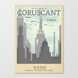 Retro Travel Poster Series - Star Wars - Coruscant Canvas Print